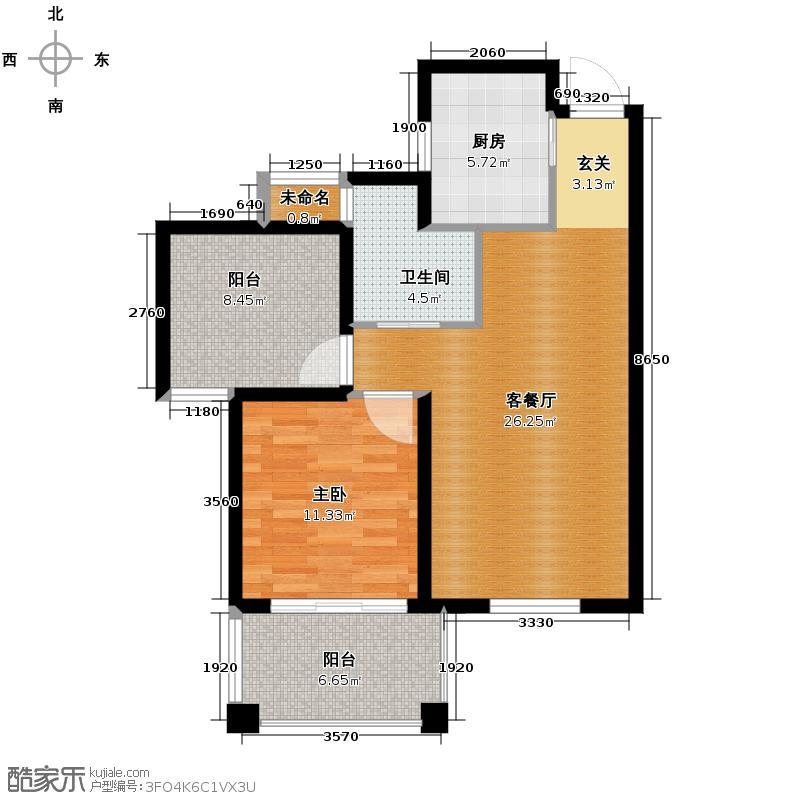广大同城印象72.00㎡B1户型1室2厅1卫