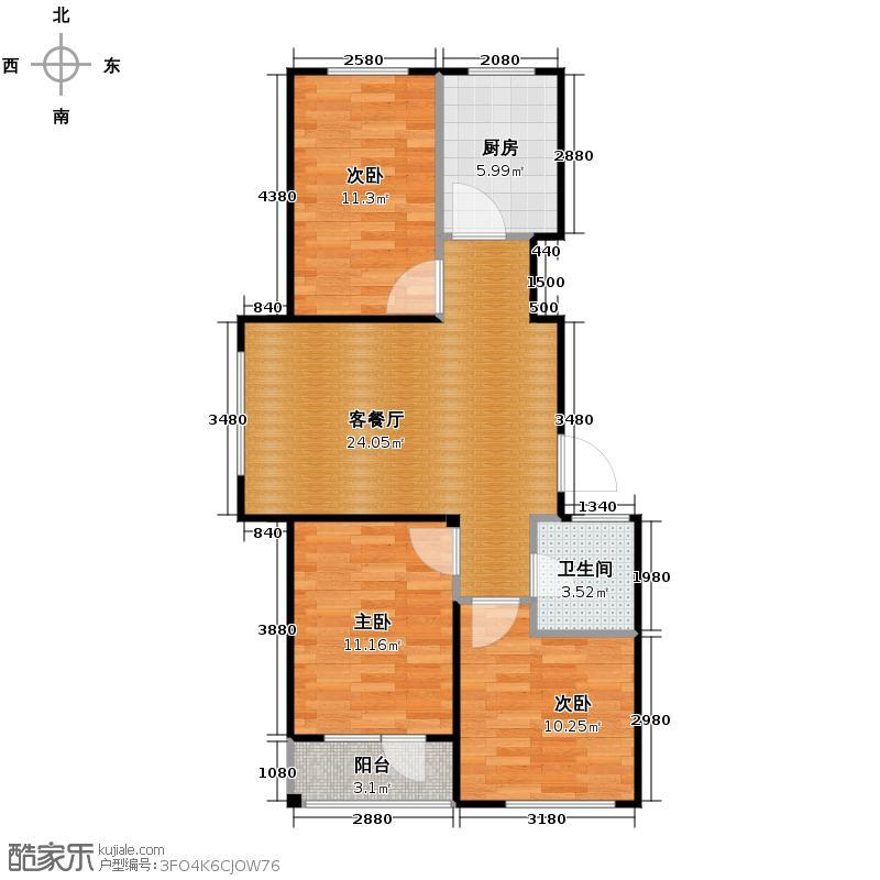 西城逸景85.30㎡F户型3室1厅1卫1厨