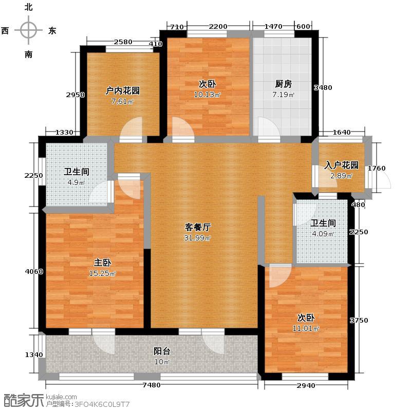 金帝海珀127.00㎡一期偶数层户型3室2厅2卫