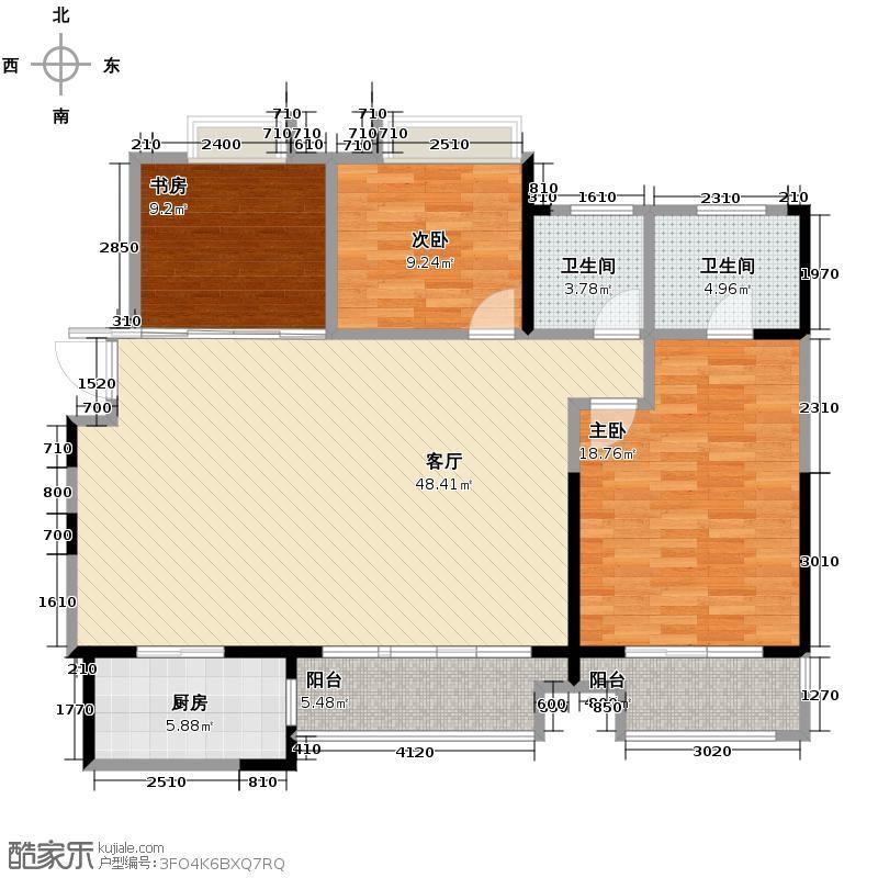 龙湖香醍溪岸138.00㎡22、23、25号楼云居户型3室2厅2卫