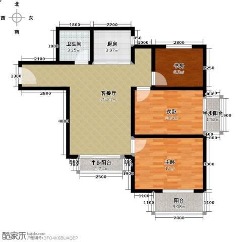 天洲沁园3室2厅1卫0厨98.00㎡户型图