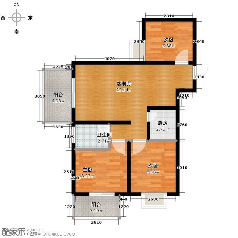 水岸东城67.36㎡东城宫邸户型3室1厅1卫1厨