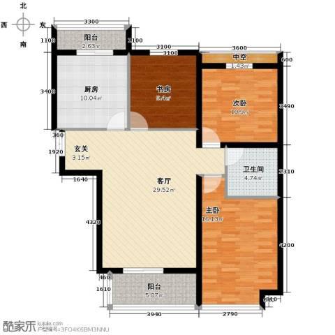 悦城3室1厅1卫1厨89.85㎡户型图