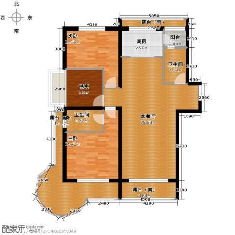 富达蓝山3室2厅2卫0厨113.02㎡户型图