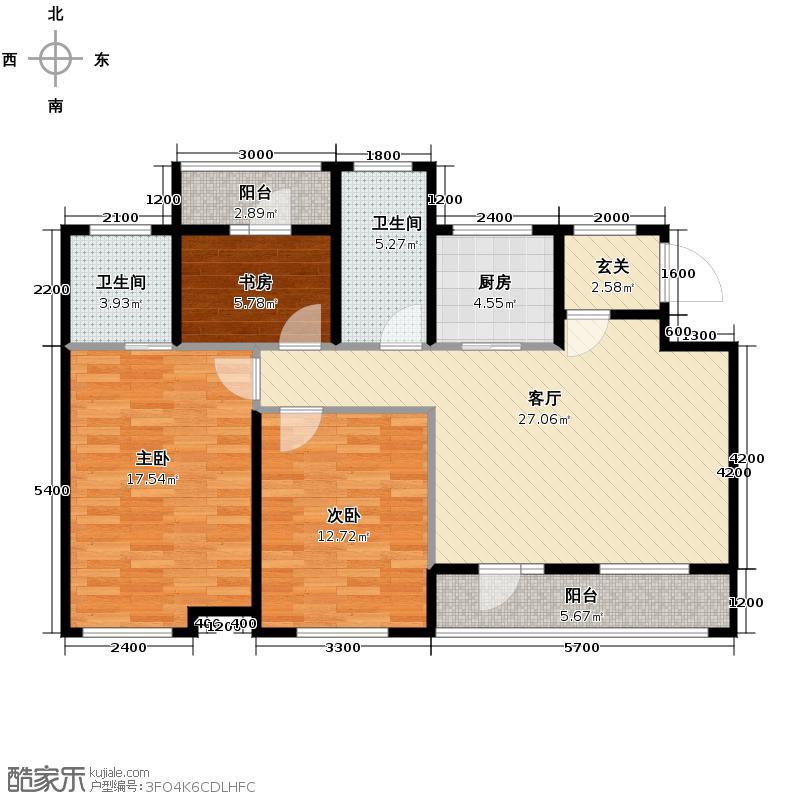 富城铭邸106.00㎡A户型3室2厅2卫