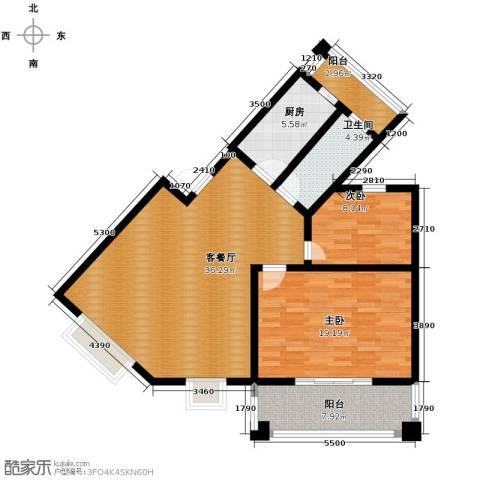 双湖明珠2室1厅1卫1厨107.00㎡户型图