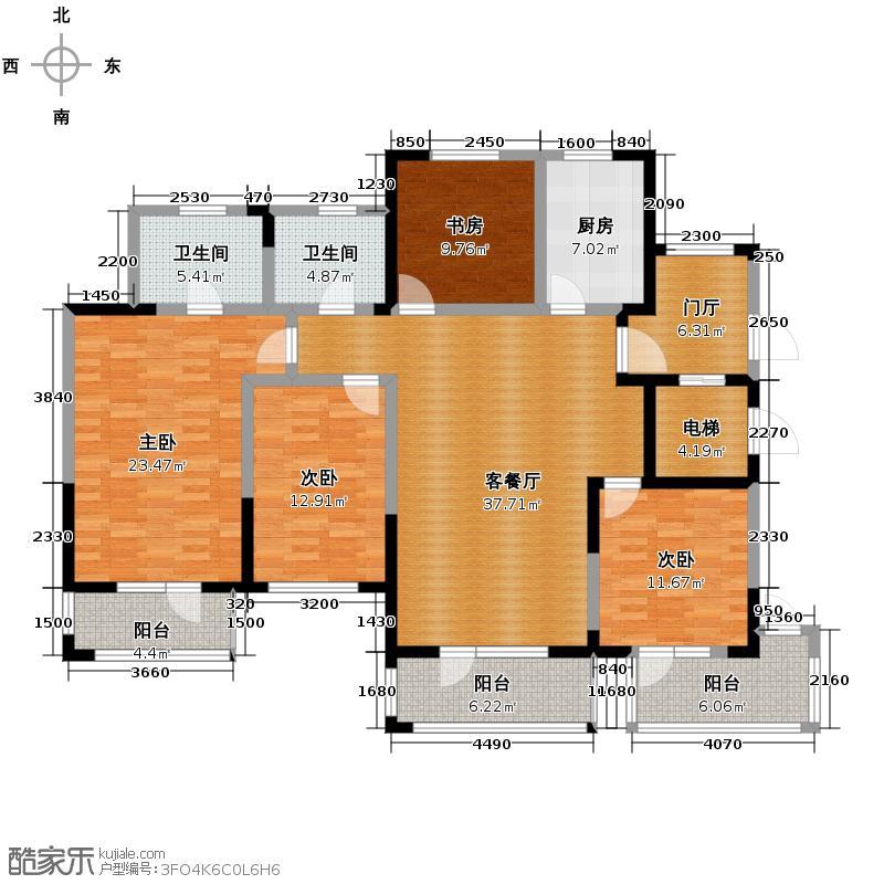 金帝海珀166.31㎡二期・九璋F1奇数层户型4室2厅2卫