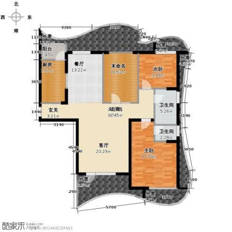 名流公馆3室2厅2卫0厨136.00㎡户型图