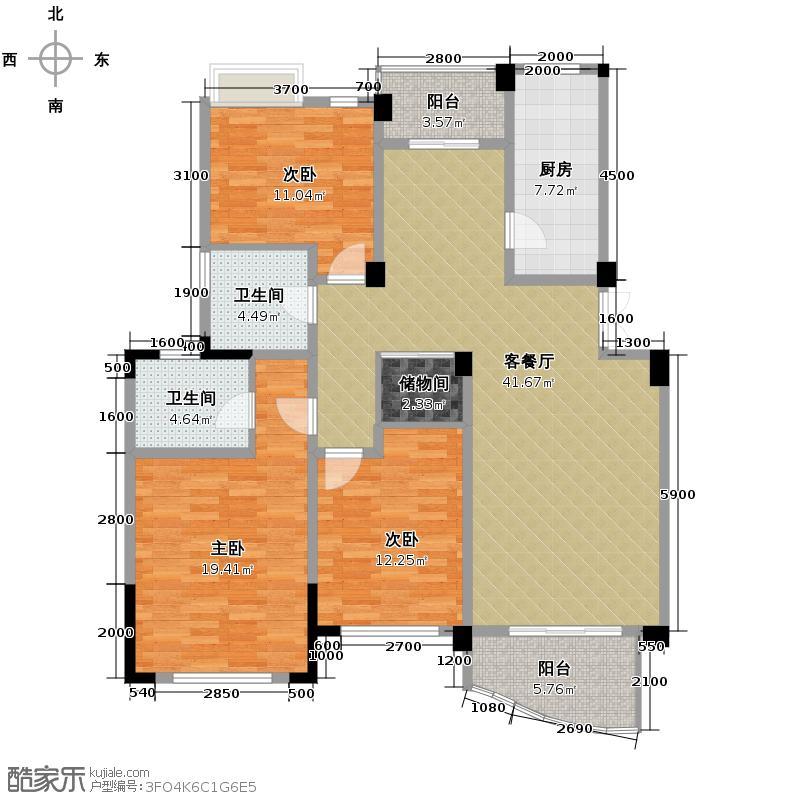 翡翠城126.96㎡竹苑1#B户型10室