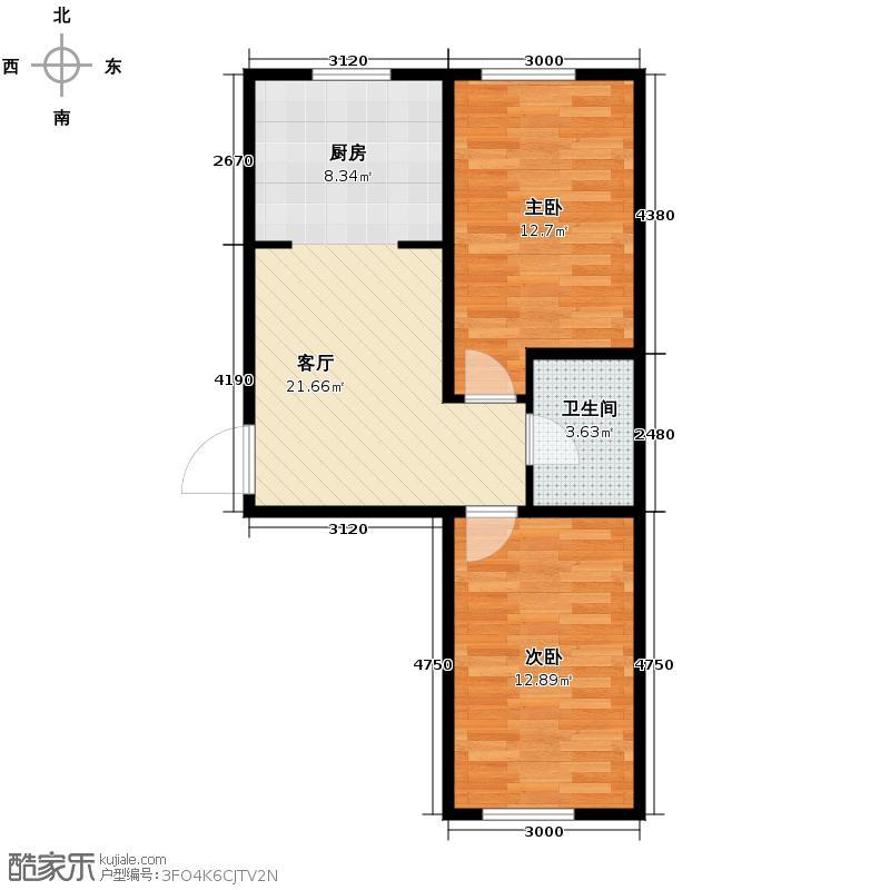 金盛鑫园73.33㎡户型2室1厅1卫