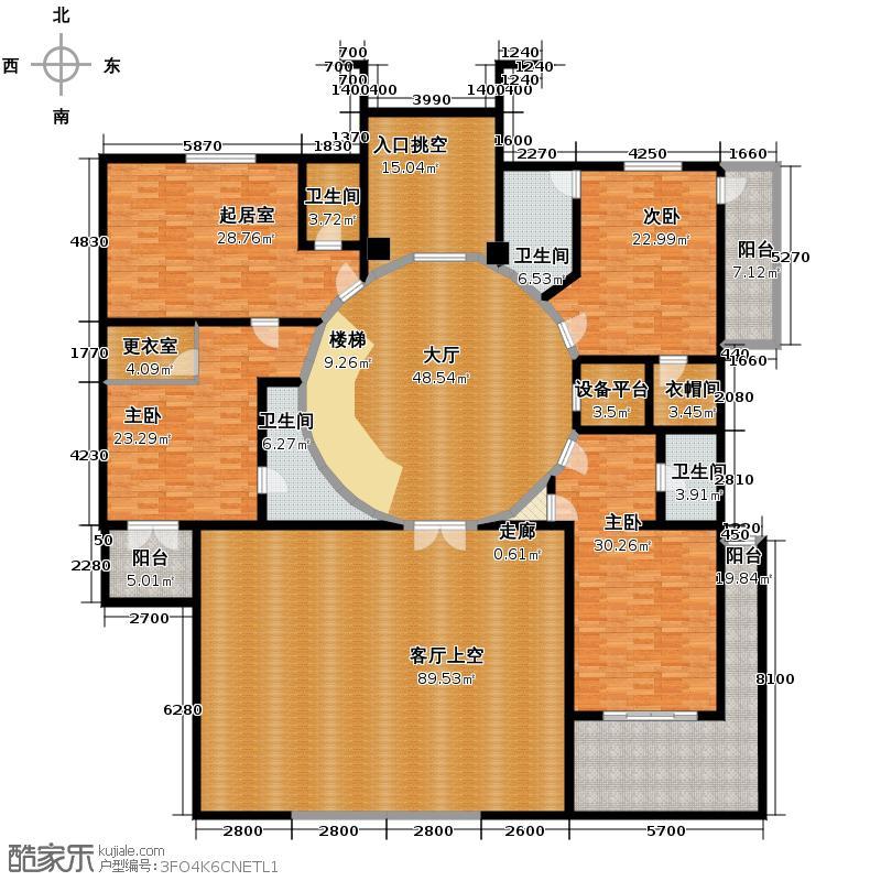 汇锦庄园208.00㎡独栋别墅二楼户型4室1厅2卫