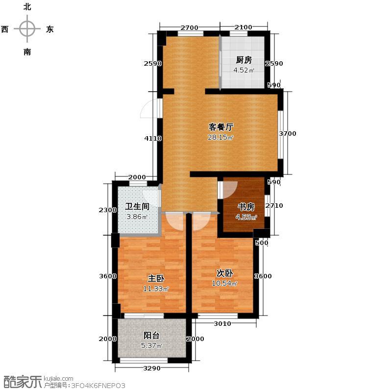 德信北海公园89.00㎡7号、8号楼D1户型3室2厅1卫