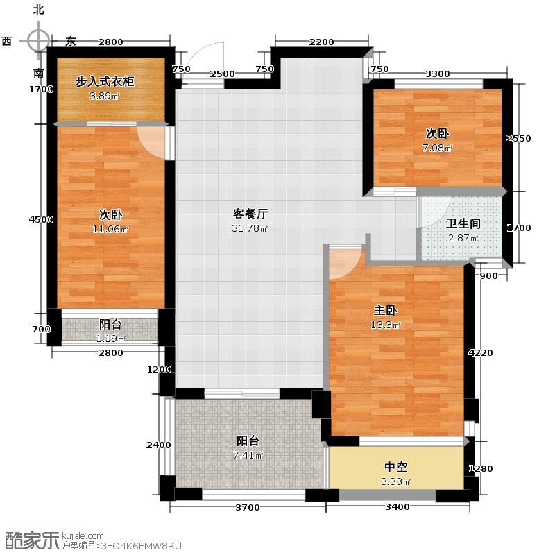 玲珑府76.00㎡A2-2户型3室2厅1卫