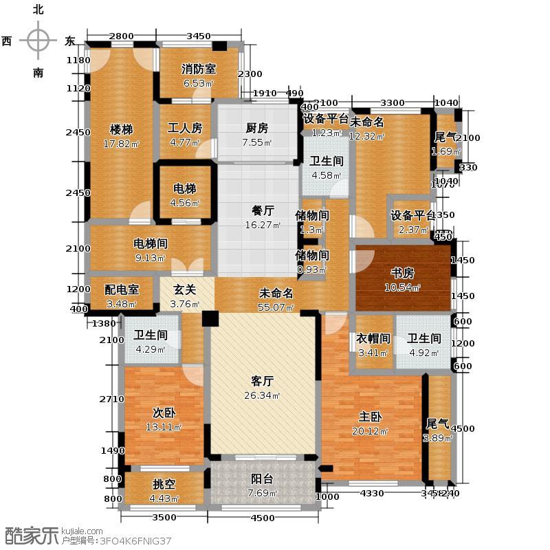 莱德绅华府202.70㎡7号楼偶数层7E户型5室2厅3卫