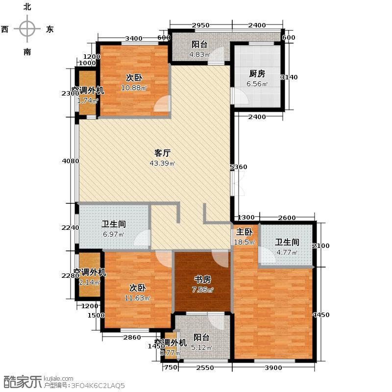 美好桂花溪园135.80㎡北区3号楼4号楼户型4室2厅2卫