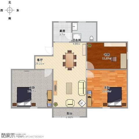 共江小区3室1厅1卫1厨107.00㎡户型图