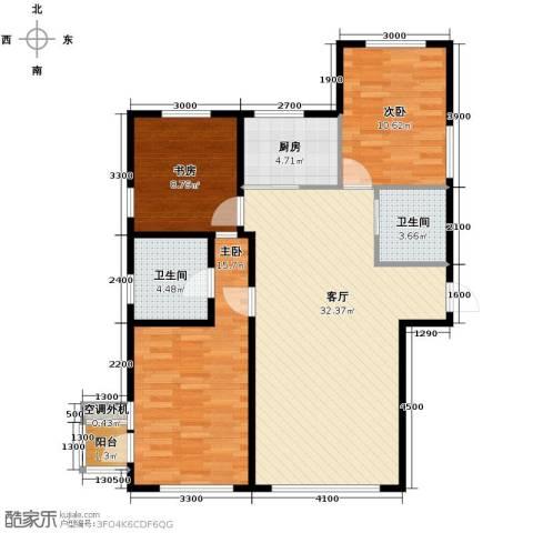 文华街三号院3室2厅2卫0厨90.90㎡户型图