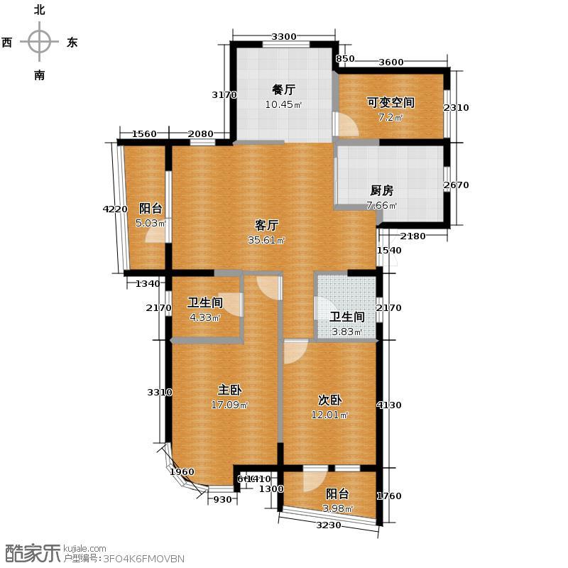 昆仑天籁117.00㎡A奇数层户型3室2厅2卫
