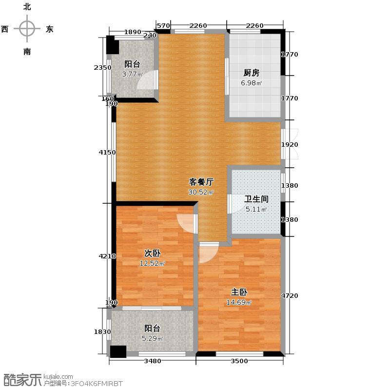 绿城明月江南88.00㎡E-1户型2室2厅1卫