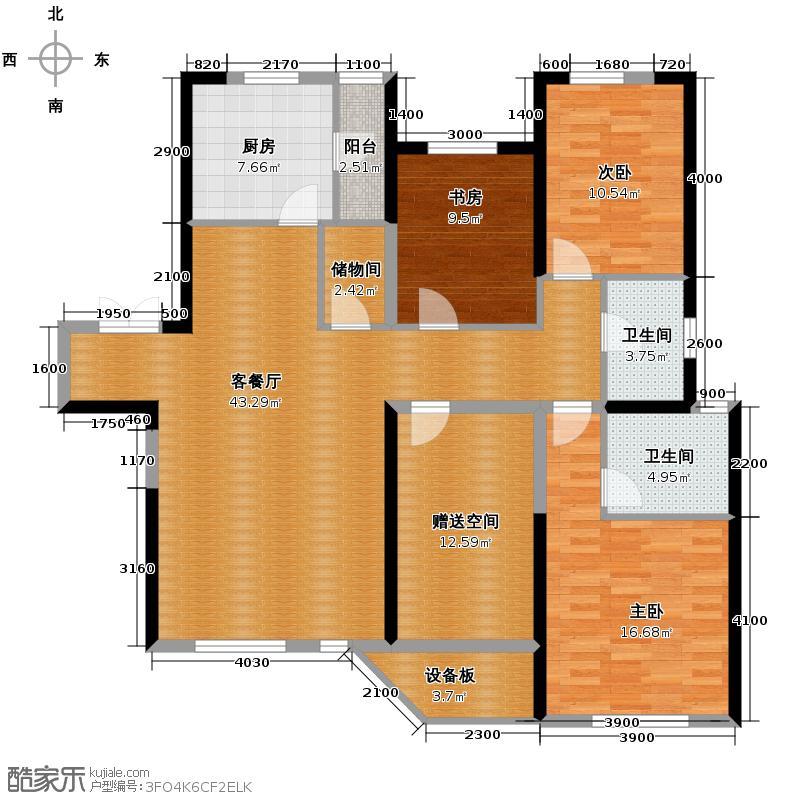 名流公馆149.25㎡11号楼A5户型4室2厅2卫