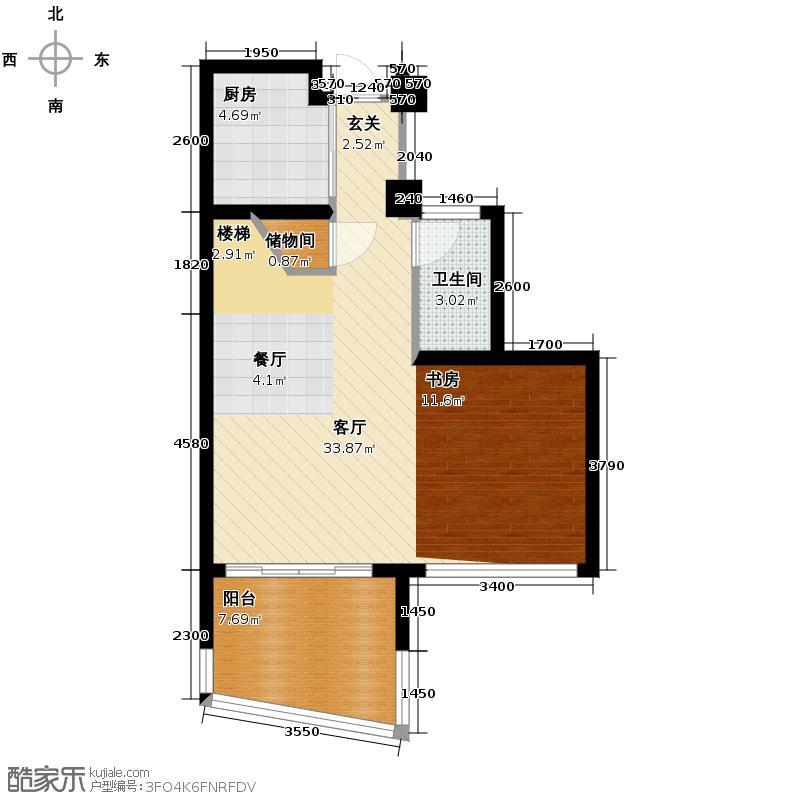 欣盛东方福邸90.00㎡1号楼C下层平面户型1厅1卫1厨