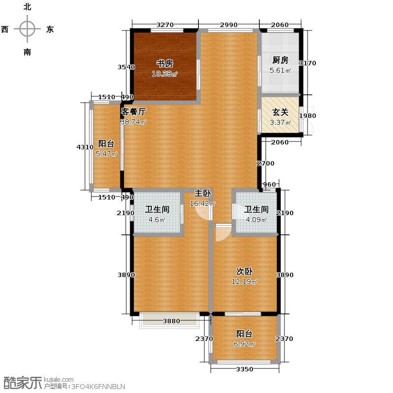 名城公馆131.00㎡1-4#11#、12#3D偶数层户型3室2厅2卫