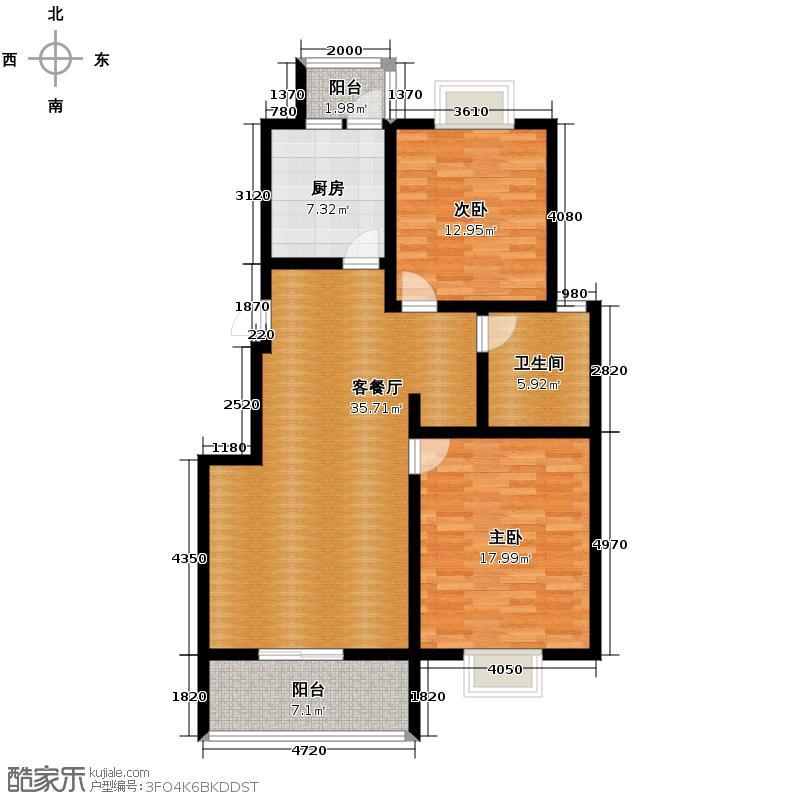 清风华院101.43㎡C型-户型2室1厅1卫1厨