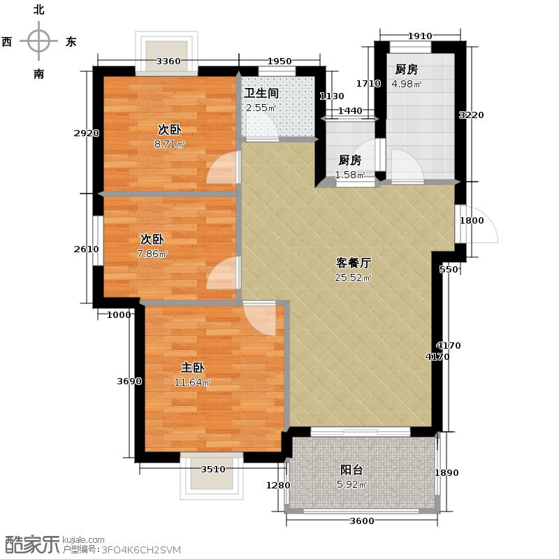 小骆花园77.60㎡1#户型3室1厅1卫2厨