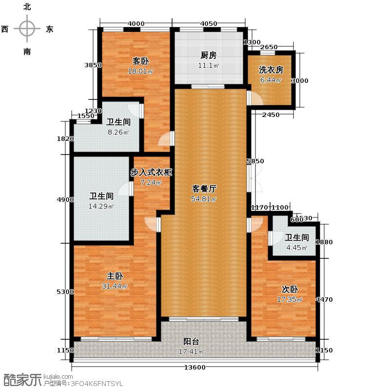 武林壹号235.00㎡7号楼F户型3室2厅3卫