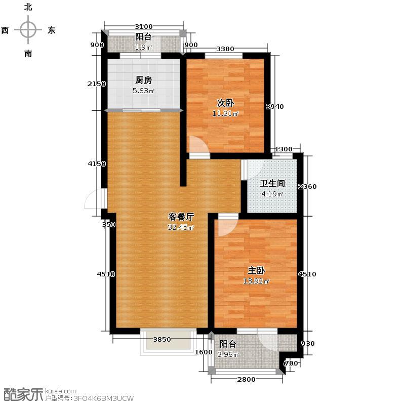 海龙湾107.82㎡7号楼B-3户型3室2厅1卫