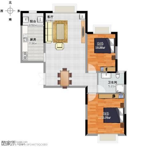 悦海世家2室1厅1卫1厨99.00㎡户型图