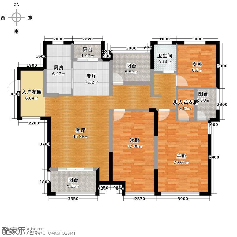 金地自在城148.88㎡F3-2a鹭影洲17-18号楼户型3室1厅1卫1厨