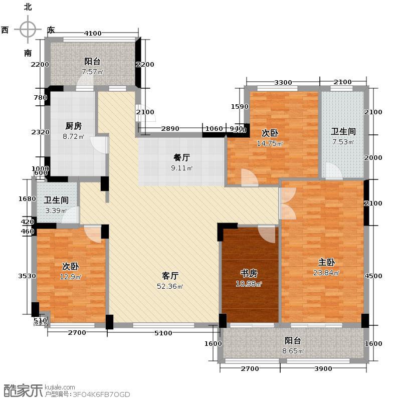 雅戈尔御西湖189.00㎡F奇数层户型4室2厅2卫