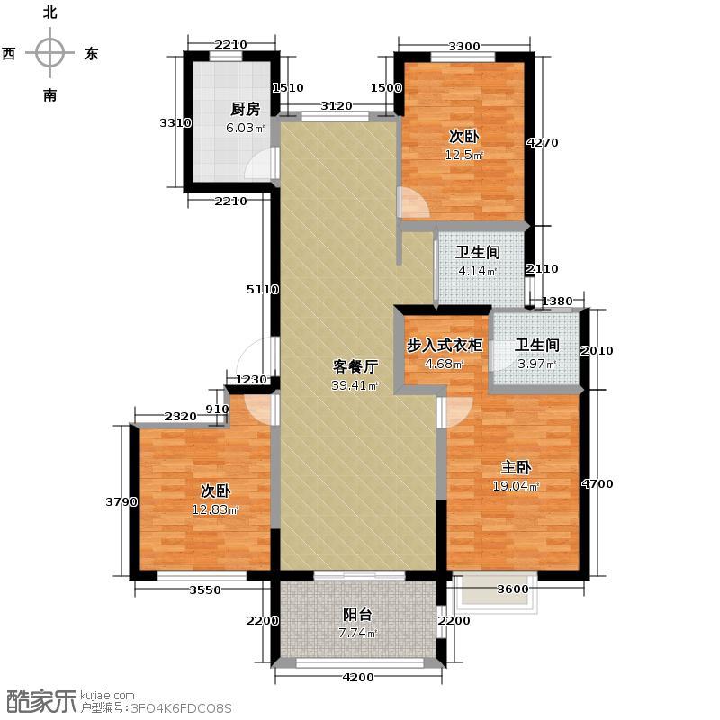 万和玺园138.00㎡F偶数层户型3室2厅2卫