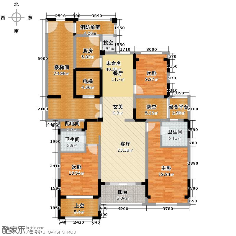 莱德绅华府145.00㎡2号楼偶数层【2/3单元01】户型3室2厅2卫