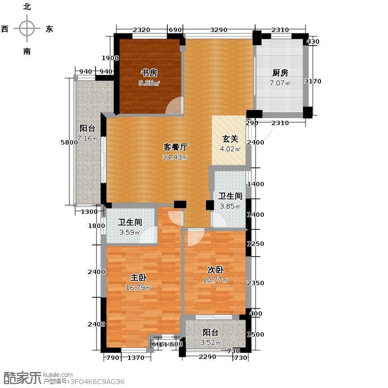 科尔南城嘉园118.00㎡B1奇数层装修方案(二)户型3室2厅2卫