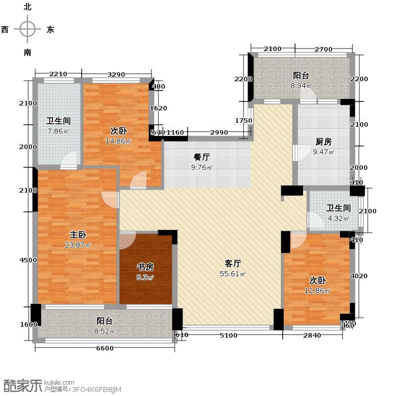 雅戈尔御西湖179.00㎡G奇数层户型4室2厅2卫