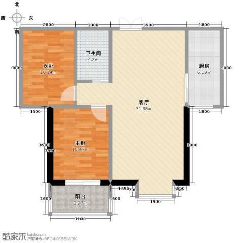 西部枫景傲城2室2厅1卫0厨99.00㎡户型图