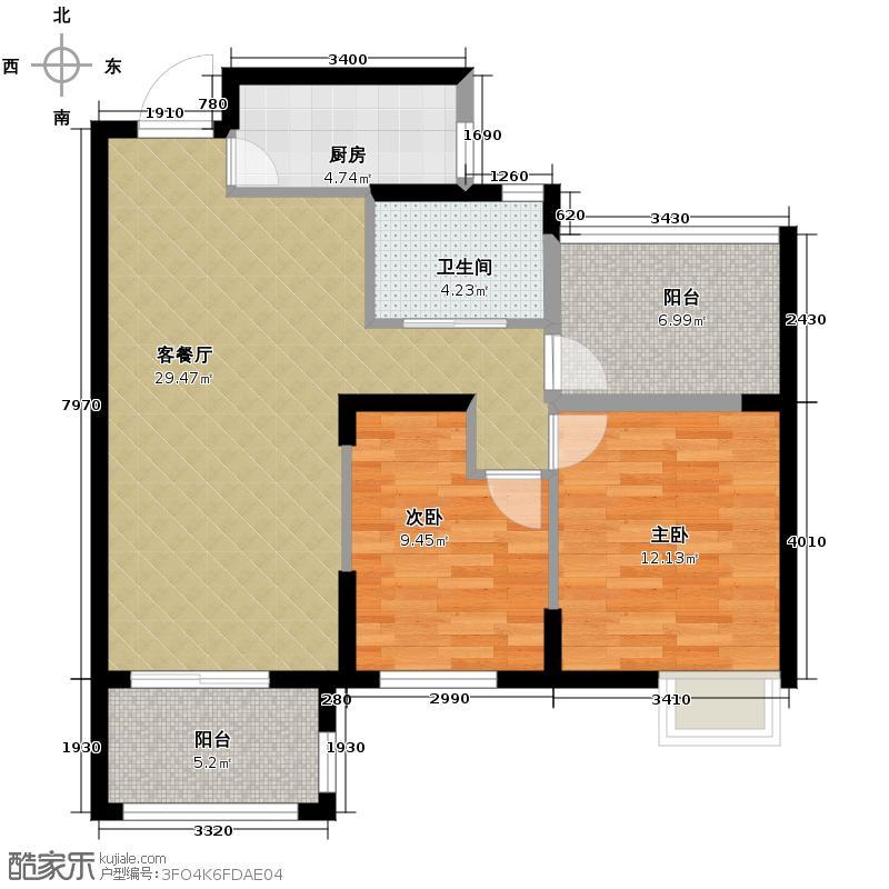 万和玺园89.00㎡B奇数层户型2室2厅1卫
