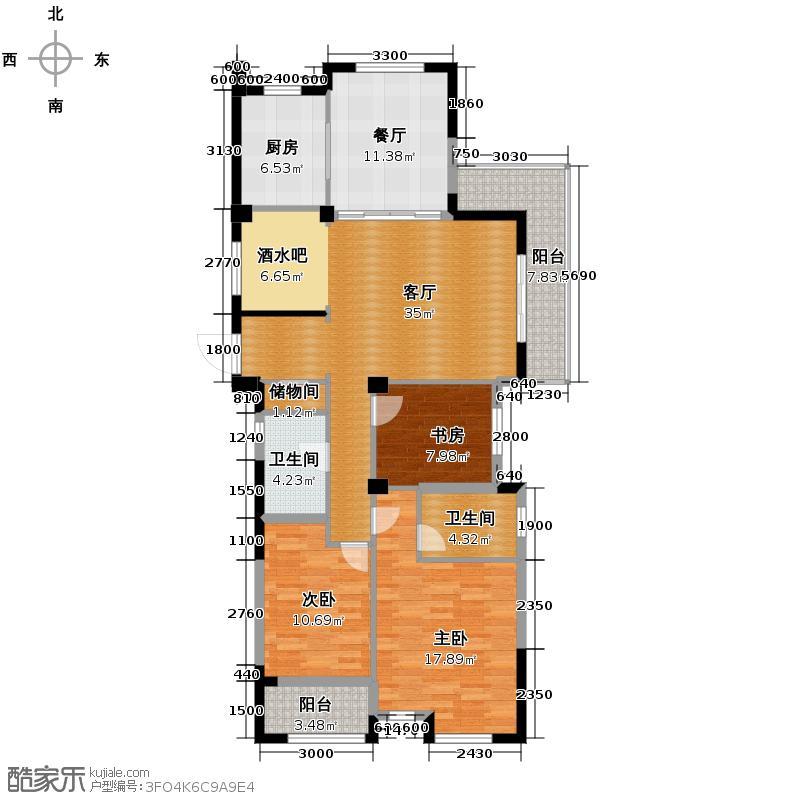 科尔南城嘉园138.00㎡C1奇数层装修方案(二)户型4室2厅2卫