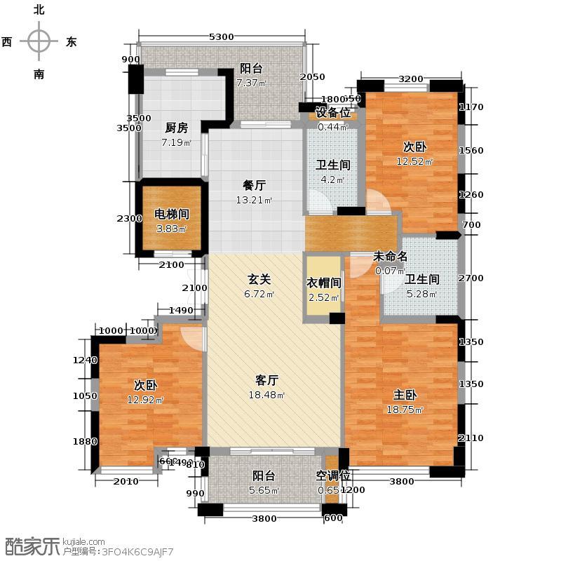 科尔南城嘉园138.00㎡C2奇数层装修方案(一)户型4室2厅2卫
