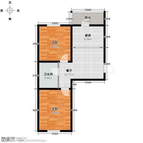 迅驰净月大学城2室1厅1卫1厨56.96㎡户型图