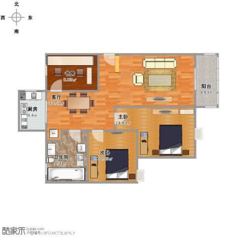 锦欣苑3室1厅1卫1厨114.00㎡户型图
