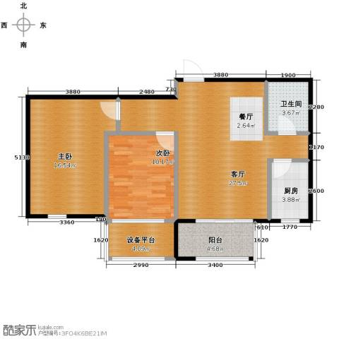 青鸟中山华府2室2厅1卫0厨86.00㎡户型图