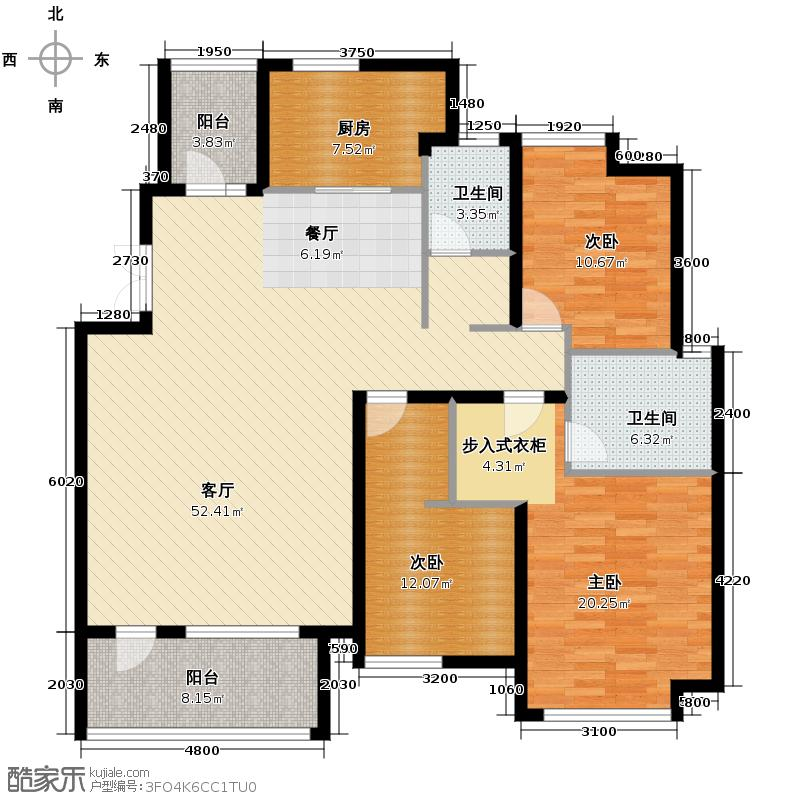 保利海上五月花155.00㎡C/2户型3室2厅2卫