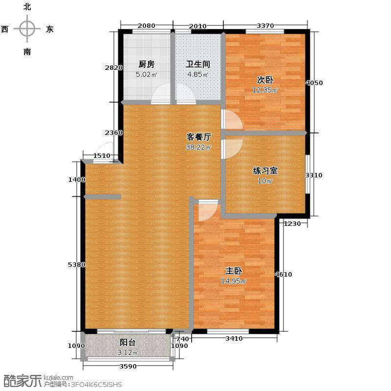 塞纳家园106.52㎡户型2室1厅1卫1厨