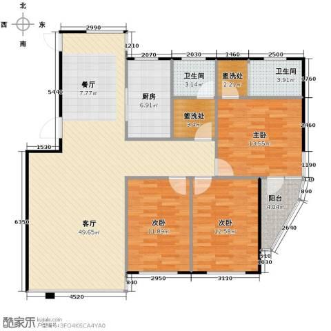 中央湖畔3室1厅2卫1厨149.00㎡户型图