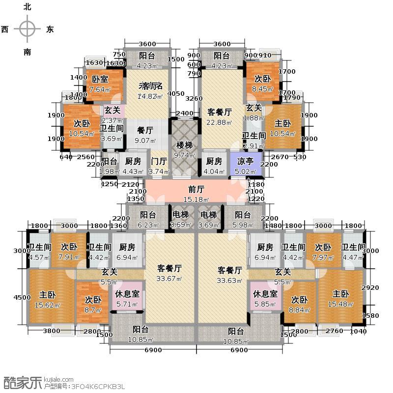 云山峰境花园413.95㎡10座平面图户型10室