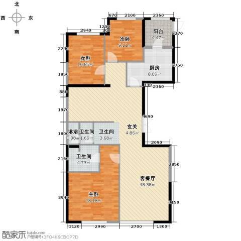 领先国际3室2厅2卫0厨156.00㎡户型图