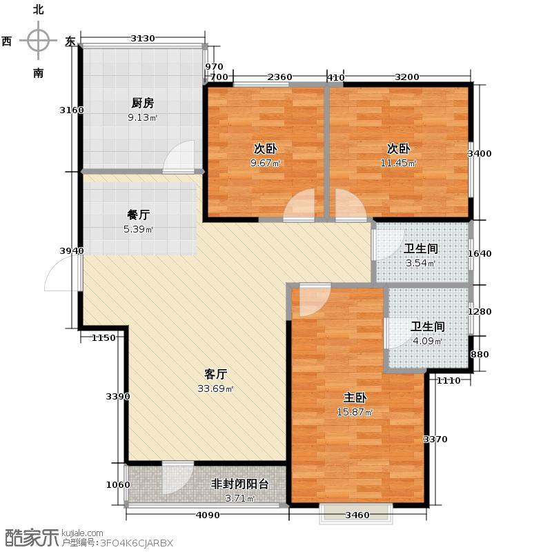 丽水金阳124.00㎡L3户型3室2厅2卫